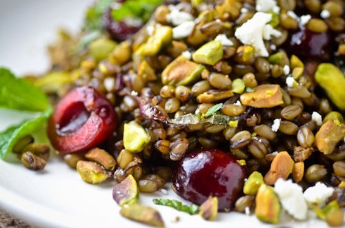 wheatberry pilaf with spiced carmelized onions cherries and pistachios