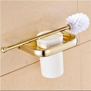 (EU Lager)WC Bürstengarnitur aus Kremitk Messing Gold