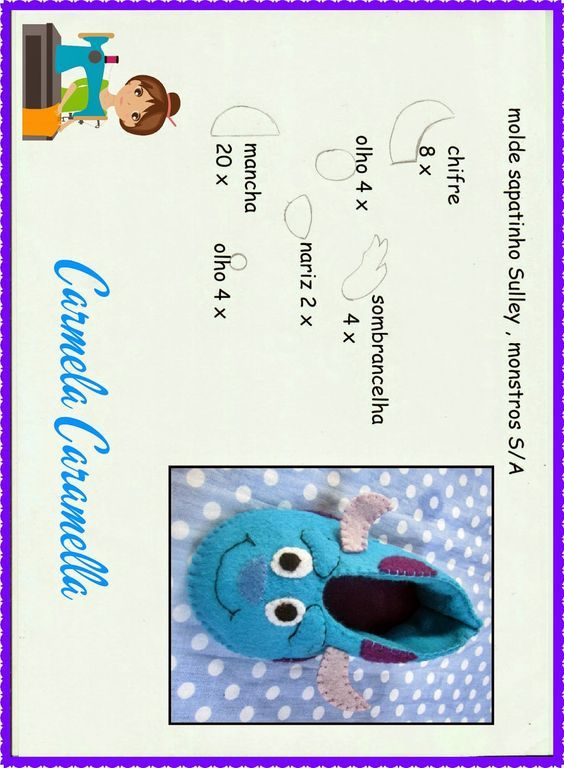 ARTESANATO COM QUIANE - Paps,Moldes,E.V.A,Feltro,Costuras,Fofuchas 3D: Molde sapatinho de feltro do filme Mosntros S.A