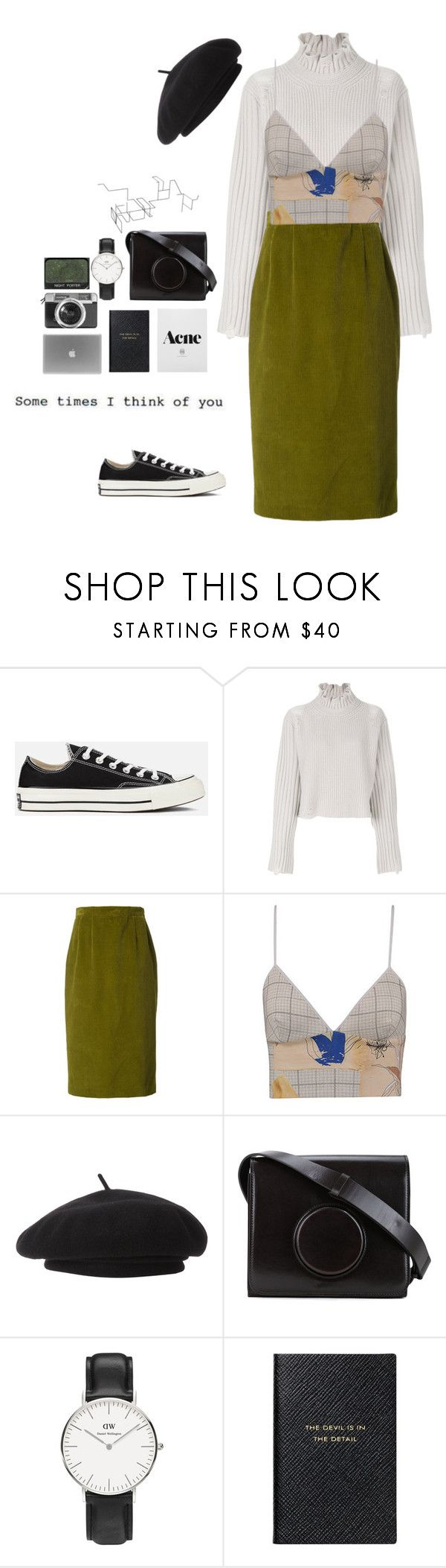 """""""I month."""" by joycereina ❤ liked on Polyvore featuring Converse, Golden Goose, Olympia Le-Tan, Clover Canyon, Parkhurst, Lemaire, Daniel Wellington, Smythson, Casetify and NARS Cosmetics"""