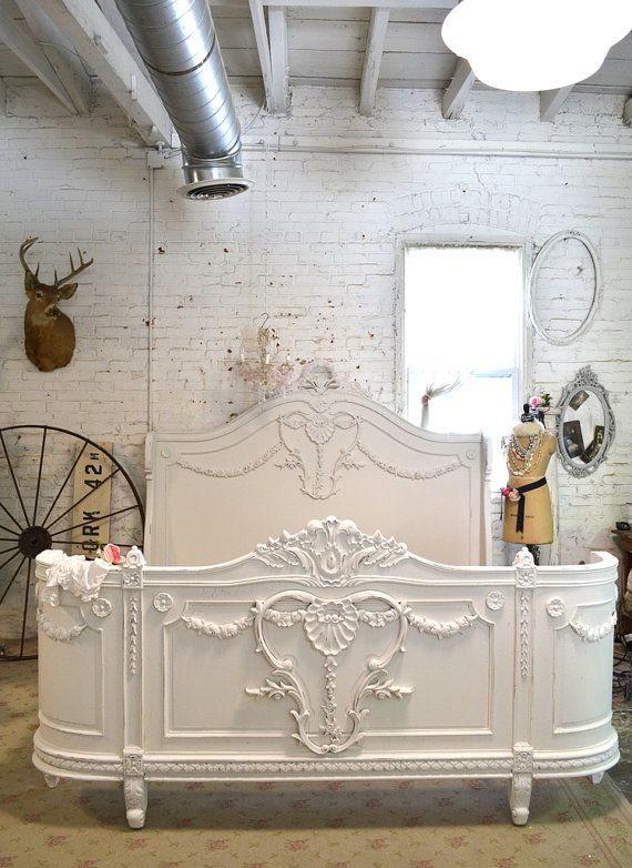 Queen or King French Bed Painted Cottage Shabby by paintedcottages