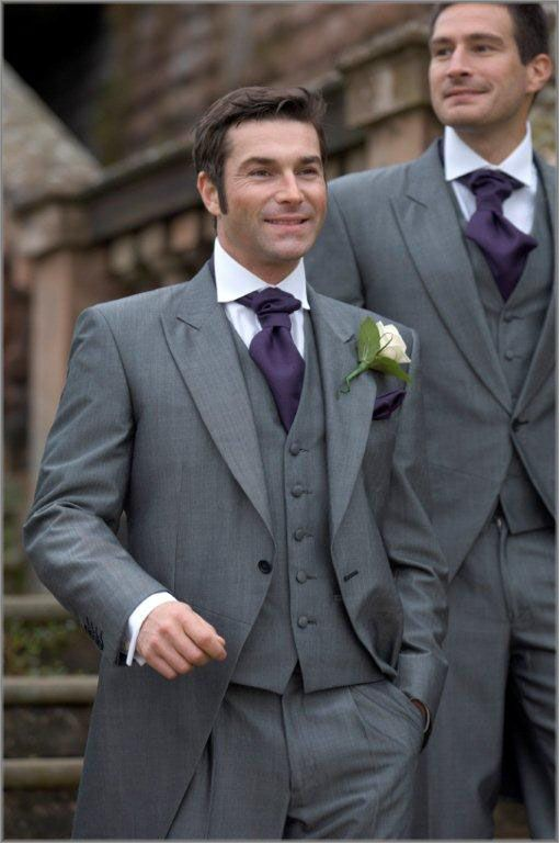 Morning Style One Button Grey Groom Tuxedos Groomsmen Mens Wedding Suits Prom Bridegroom Jacket Pants Vest Tie