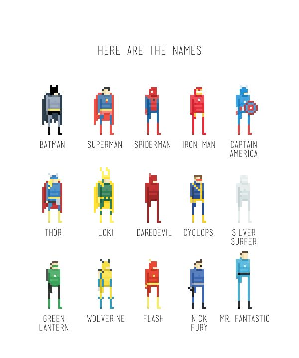 Super Cool Pixel Art Super Heroes For more information about Ercan visit http://www.41-29.com