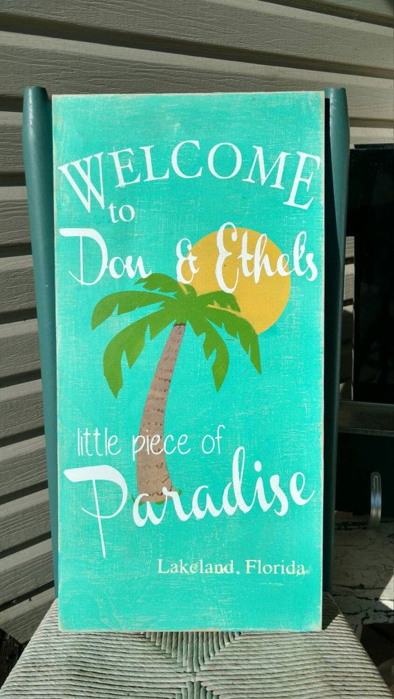 Paradise Sign Personalized beach house dcor cottage