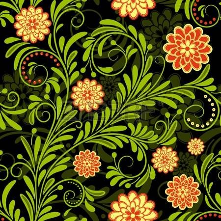 Black vintage seamless pattern with red and yellow flowers photo