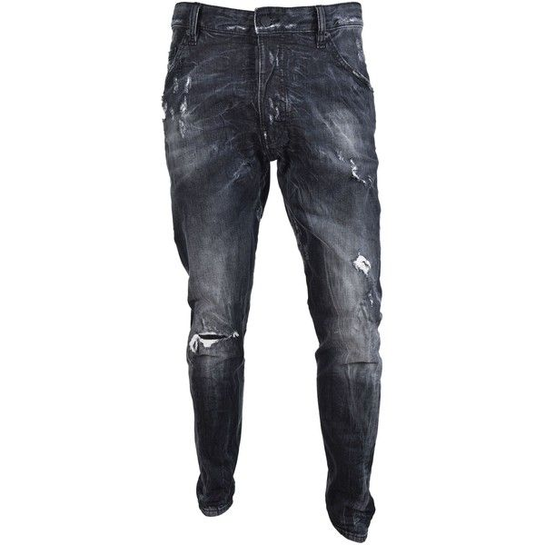 Dsquared2 Kenny Jeans ($285) ❤ liked on Polyvore featuring men's fashion, men's clothing, men's jeans, nero, mens bleached jeans, mens patched jeans, mens destroyed jeans, mens distressed jeans and mens ripped jeans