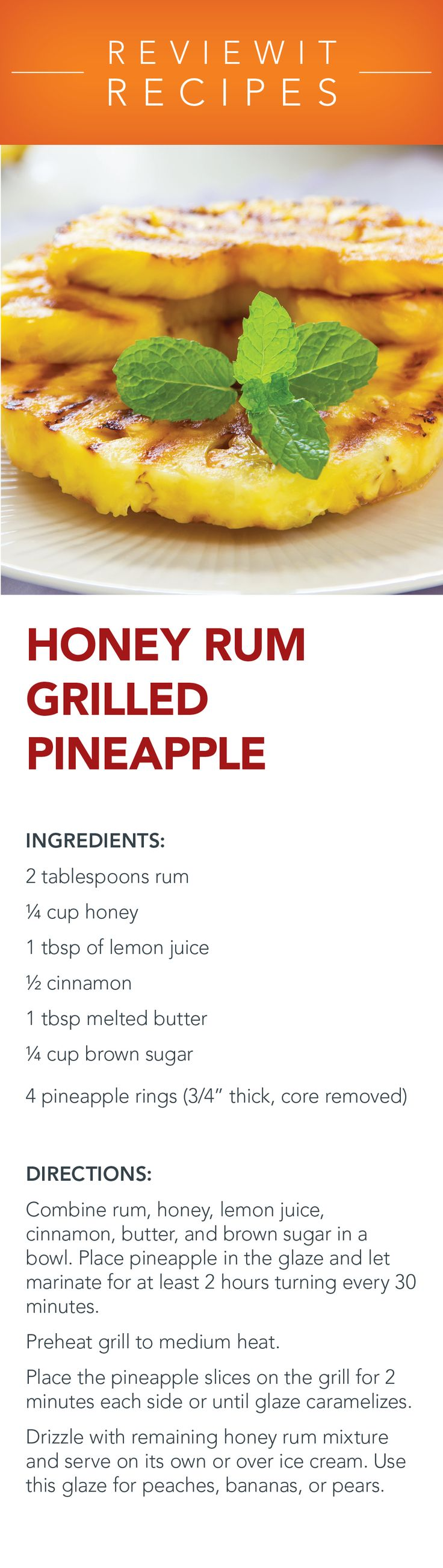 Dessert Grill Recipes - Honey Rum Grilled Pineapple