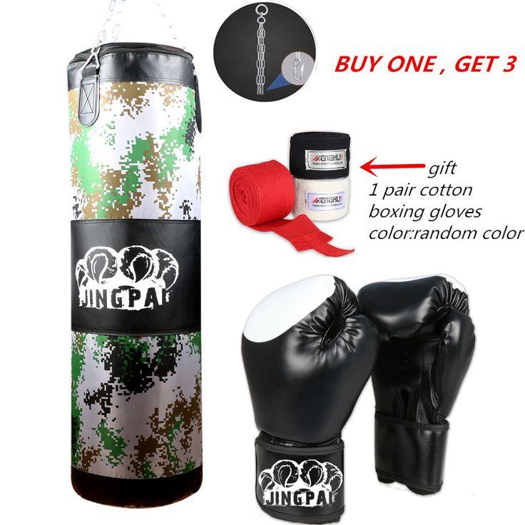 Empty Kick Boxing Bag 100cm Training Fitness Punching BagSaco De Pancada Boxeo Hook Hanging MMA Fight Sandbag2 different glvoes
