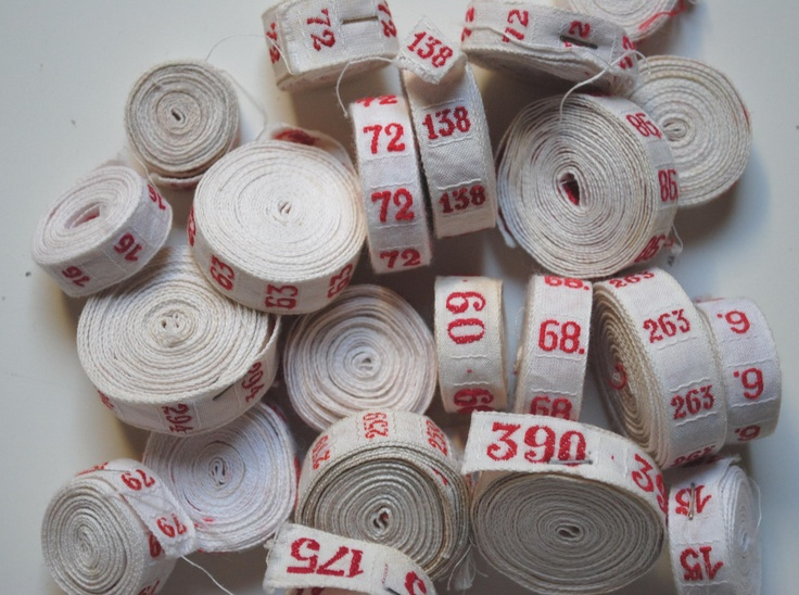 Vintage french embroidered trim ribbon - Numbers - vintage laundry label