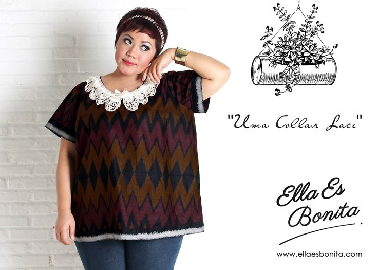 Uma Collar Lace - This collar lace shirt features high quality batik cotton which specially designed for sophisticated curvy women originally made by Indonesian Designer & Local Brand: Ella Es Bonita. Available at www.ellaesbonita.com