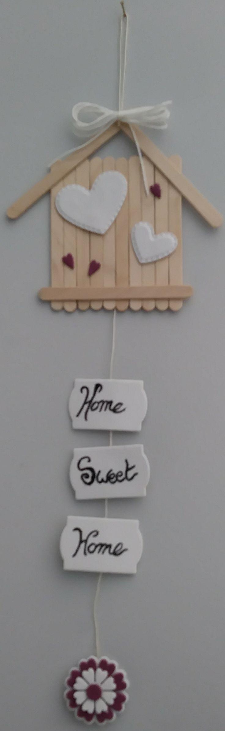 """Fuoriporta """"home sweet home"""" da riciclo stecchette gelato"""