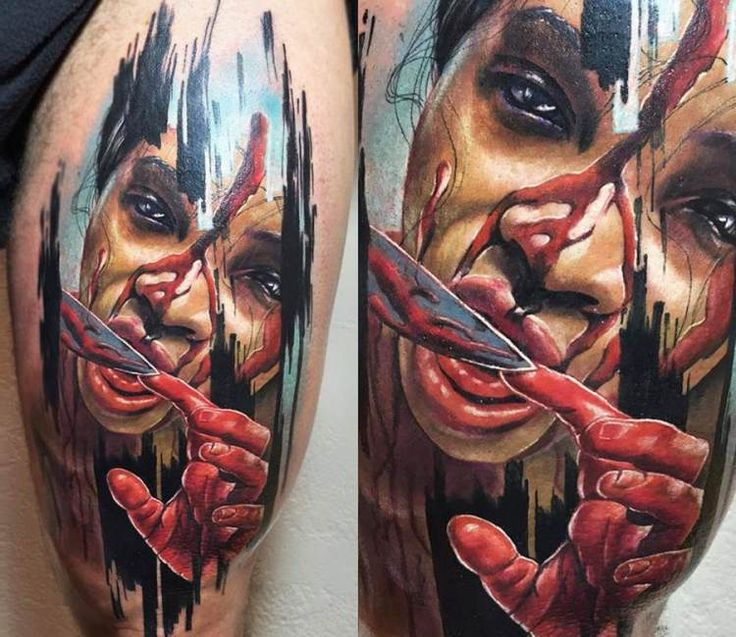 Horror Face tattoo by Charles Huurman
