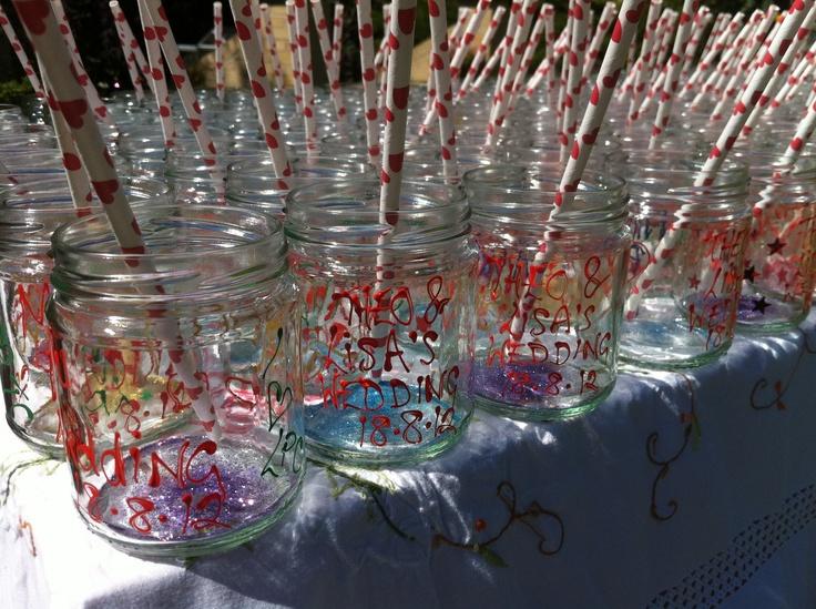 Beautiful hand painted personalised mason jars x