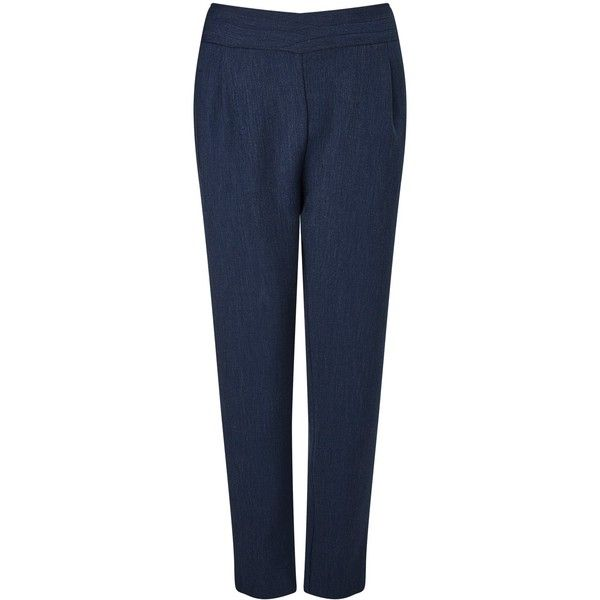 BOSS Orange Sabreuny Trousers, Navy (240 NZD) ❤ liked on Polyvore featuring pants, capris, navy stretch pants, navy blue trousers, stretch pants, navy pants and print pants