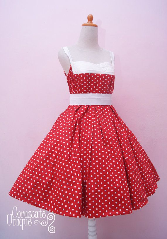 Red Polkadot Pin Up Dress / Shelf Bust Swing by CoruscateUnique