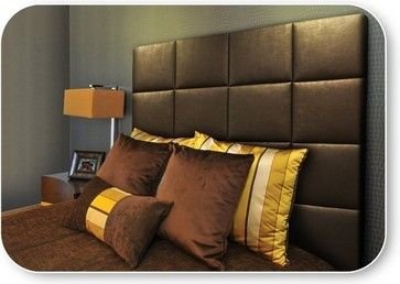 California King Upholstered Headboard in Bronze Faux Leather contemporary-bedroom-products
