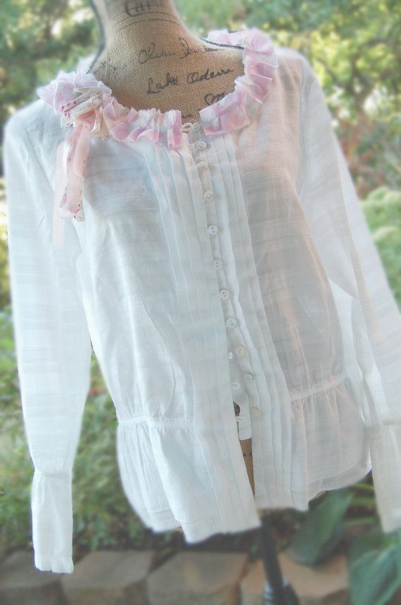 Lovely White Cotton Peasant Blouse Womens Medium Shabby Chic Altered