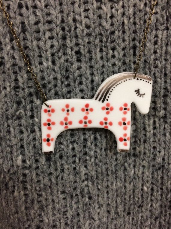 White horse porcelain pendant, porcelain jewelry, pircelain necklace, red ornament, red glaze