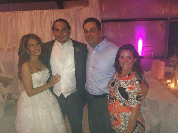 Newlyweds Matt & Rebecca Hardy pose with Steve Corino & his wife Jordan.
