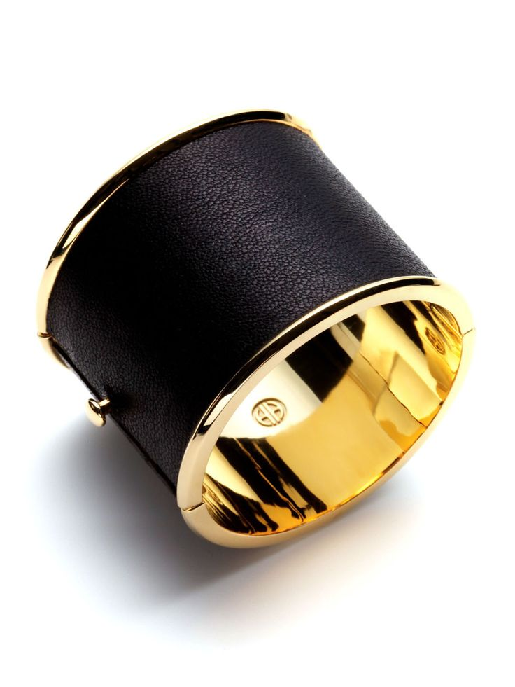 House of Harlow 1960 Black Leather Hinged Cuff: Harlow 1960, 1960 Black, Gilt Com, Black Leather, Leather Cuffs, Leather Hinges, 1960 Hinges, House Of Harlow, Hinges Cuffs