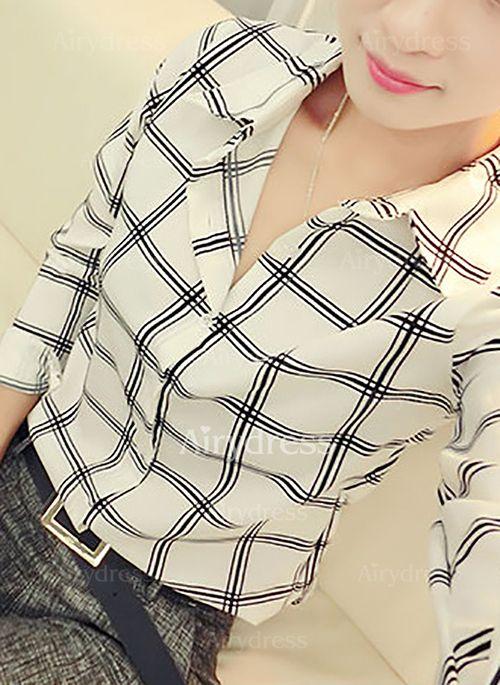 Cuadros Casuales Poliéster Cuello Manga larga Camisas (1045931) @