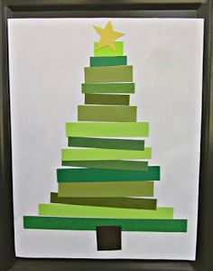 EEEK! Loving this new Christmas Craft!!!  Mal flere grønne og få gule og brune ark med vandfarve, så de kan tørre og skæres ud i 1,5-2 cm brede striber. På hvidt ark sættes de op og limes let fast, så det kan lamineres.