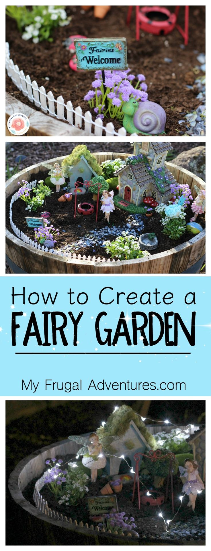Fun and whimsical fairy garden for indoor or for outdoor use.  Such a fun children's craft to add a little magic to your yard.