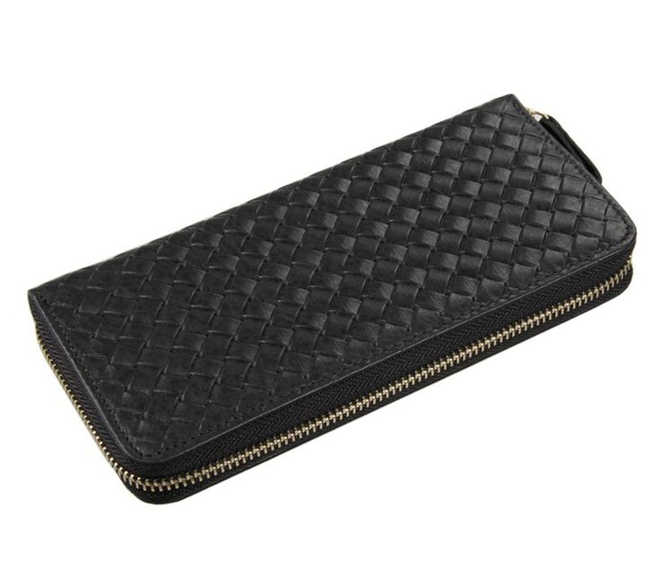 8067A Fashion larger capacity 100% Real Genuine Leather Purse Wallet black color