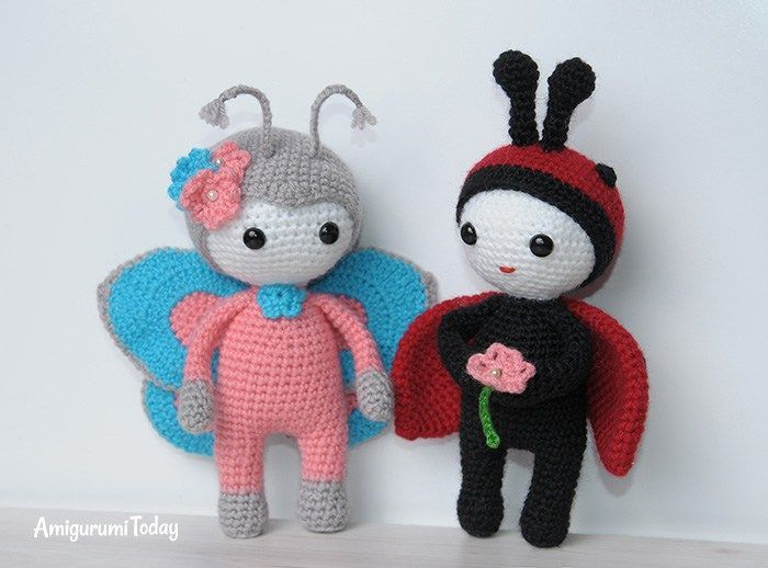 Amigurumi doll in butterfly costume - free amigurumi pattern