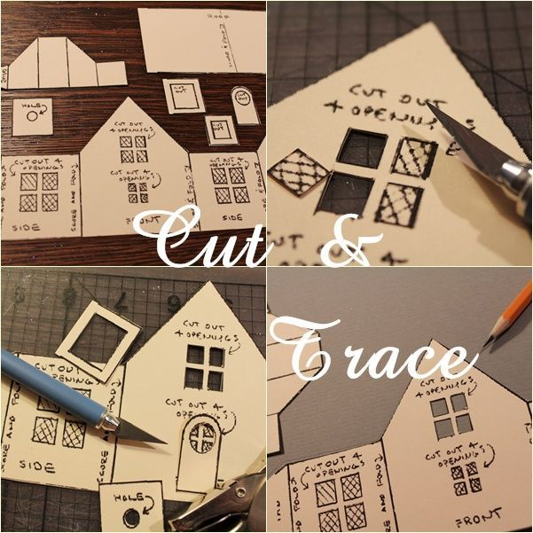 Note Songs: How I Make Glitter Houses use the pattern from Big Indoor Trains printed on computer paper for pattern the trace out on colored cardstock paper then cut everything out with exacto knife and score fold lines