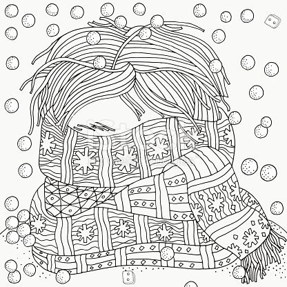 Boy with warm scarf. Winter, cold, snow. Pattern for coloring book ...