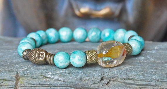 Good Luck braceletAmazonite chakra buddha by CrystalsAndRainbows