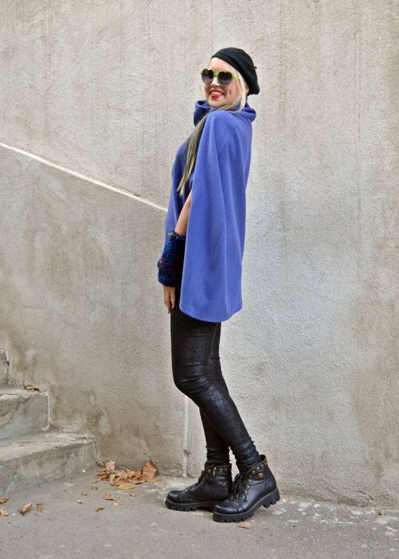 Blue Jacket Cloak / Cashmere Cloak with Handmade Knitted by Teyxo