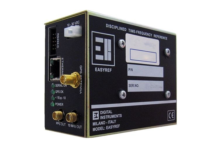 EASYREF Signal Generator Tuned by GPS  EASYREF features:  10 MHz sine wave output with digital level adjustment from -2 dBm to +16 dBm, 1 PPS output on TTL level (50 ohm impedance), Ethernet interface for synchronization using NTP time protocol and for remote management using SNMP protocol.  Read More: http://www.digital-instruments.com/sheet.php?id=5  Contact Us: http://cccsolutions.eu/contact-us