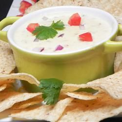 Mexican White Cheese Dip/Sauce | Creamy and spicy, this cheese and green chili queso can be used as a dip for tortilla chips or as a sauce.