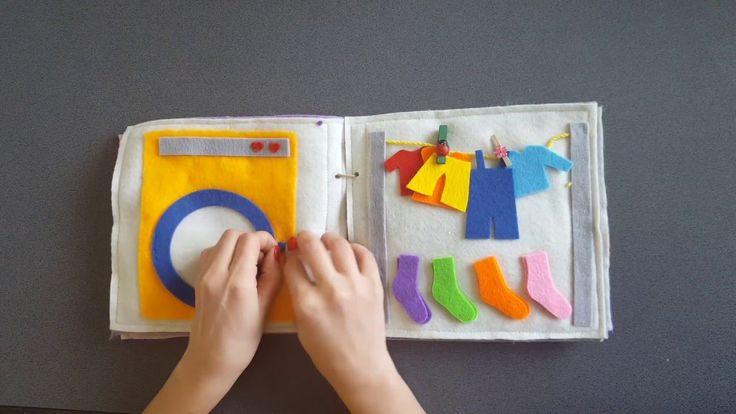 Quiet book Carte senzoriala din fetru cu activitati pentru copii Model3