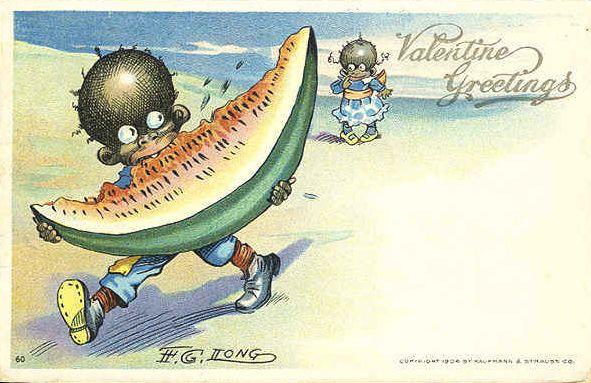 1904 Watermelon Coon Card