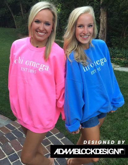 Chi Omega Simple Sweatshirt by Adam Block Design | Custom Greek Apparel & Sorority Clothes | www.adamblockdesign.com