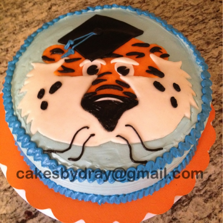 Auburn University Graduation Cake with Aubie cakesbydray@gmail.com