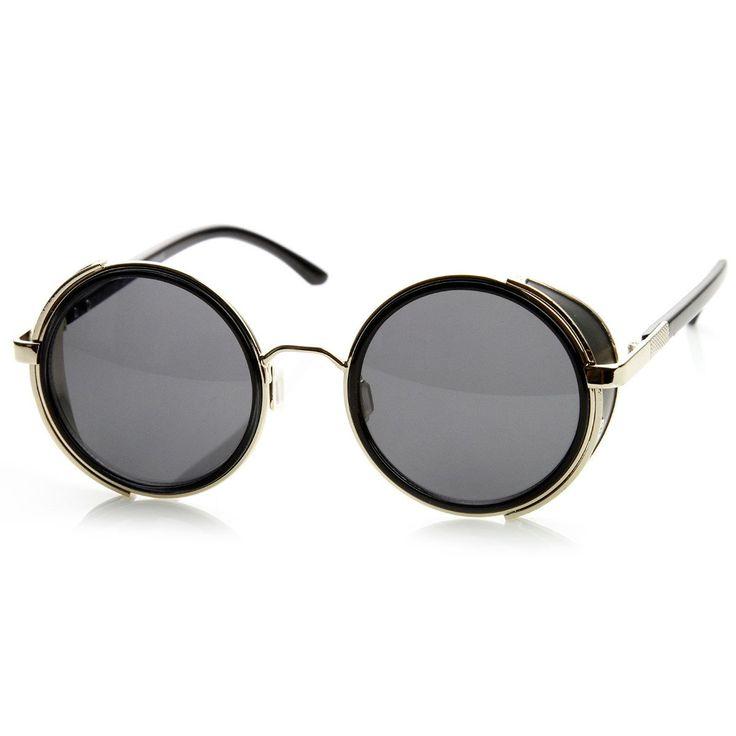 Studio Cover Metal Frame Side Shield Round Sunglasses