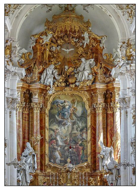 The baroque high altar of the abbey church of Dießen, a villlage located on the shores of Ammersee lake in Southern Bavaria (Germany).