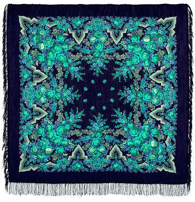 Wool Russian Pavlovo Posad Shawl Scarf 146x146cm with wool