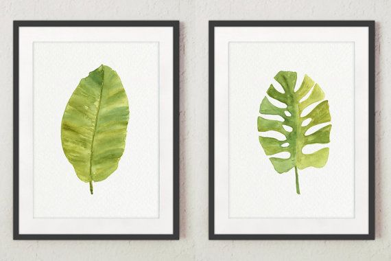 Green Leaf Watercolor Painting. Banana Palm Leaf and Tropical Monstera Leaf Set of 2 Art Prints Green Wall Decor. Kitchen Illustration Gift Idea