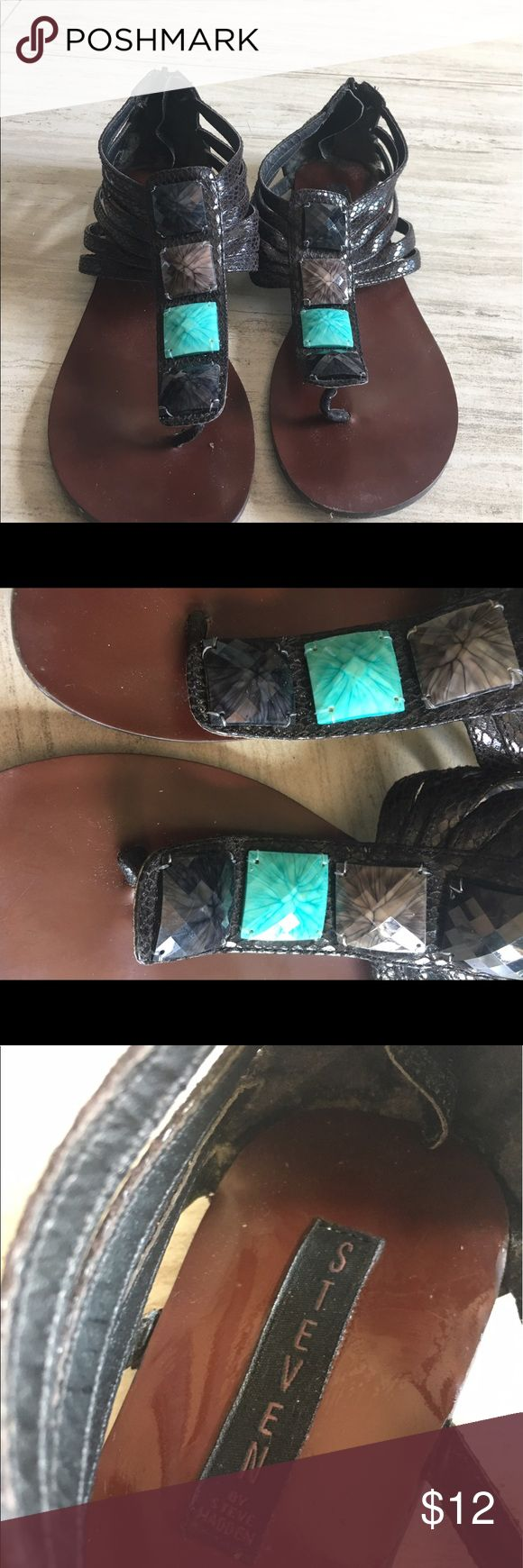 Black and teal sandals Very cute black and teal sandals by Steve Madden Steve Madden Shoes Sandals