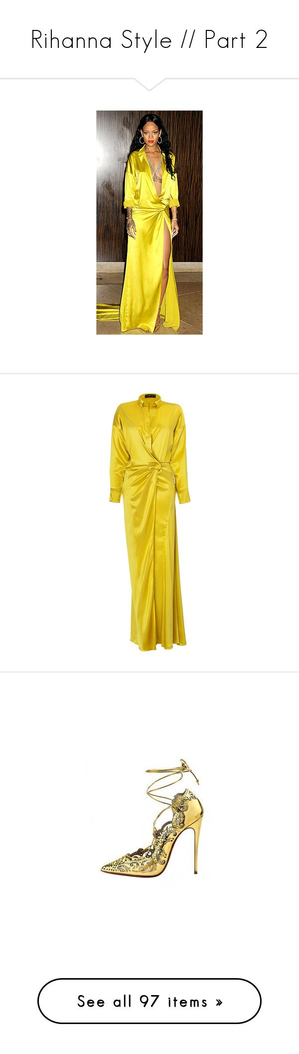 """Rihanna Style // Part 2"" by erkrauth ❤ liked on Polyvore featuring red carpet, dresses, gowns, alexandre vauthier, yellow, yellow evening dress, long sleeve evening dresses, yellow evening gown, long sleeve evening gowns and yellow dresses"