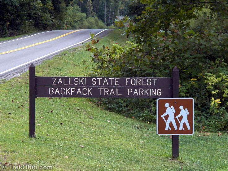 Ohio backpacking week end trips Zaleski Backpack Trail parking off of US-278