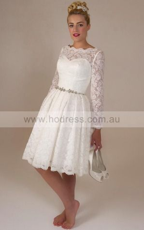 Long Sleeves Buttons Lace Jewel A-line Wedding Dresses ghcf1007--Hodress