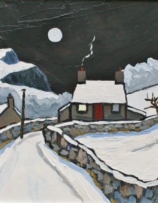 British Artist David BARNES - Winter at Rhyd
