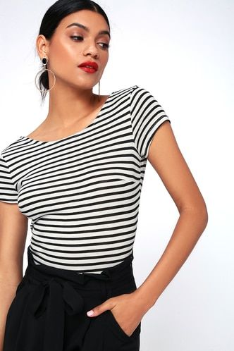 6e242362a37a5 Mandy Black and White Striped Bodysuit 5