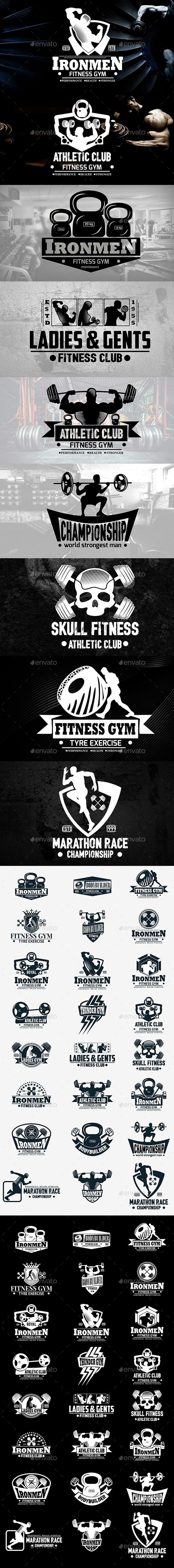 Fitness Gym Labels & Logos - Badges & Stickers Web Elements